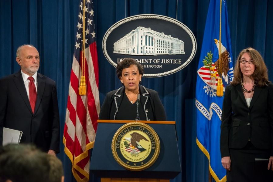 Press conference to announce the U.S. Department of Justice and attorneys general from multiple states and the District of Colum