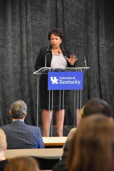 Attorney General Loretta E. Lynch delivers remarks at the University of Kentucky on the Department's response to the opioid cris