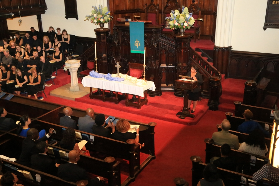Attorney General Loretta E. Lynch delivers remarks at a memorial service hosted by the First Presbyterian Church of Brooklyn,