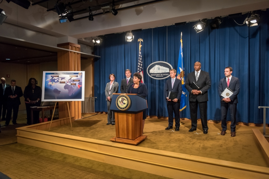 The Department of Justice and other federal agency partners announcing the civil and criminal actions to dismantle a global netw