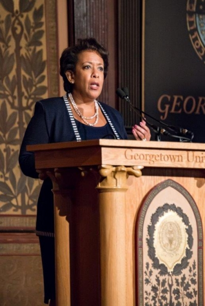 "Attorney General Loretta E. Lynch delivered welcoming remarks prior to a screening of the ""Chasing the Dragon"" documentary, a fi"