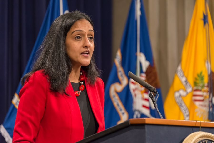 Principal Deputy Assistant Attorney General Vanita Gupta of the Civil Rights Division gives opening remarks at the Naturalizat