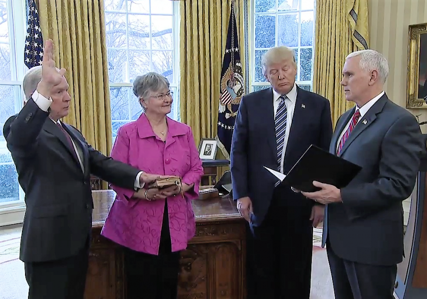 Vice President Michael R. Pence administers the oath of office to Jeff Sessions to be the 84th Attorney General of the United St