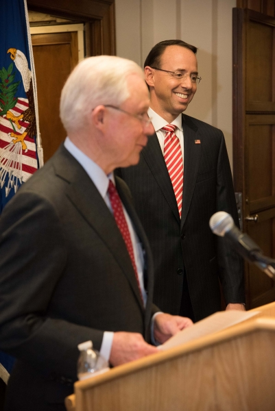 Attorney General Sessions speaks at the swearing in ceremony for Rod J. Rosenstein to be Deputy Attorney General of the United S