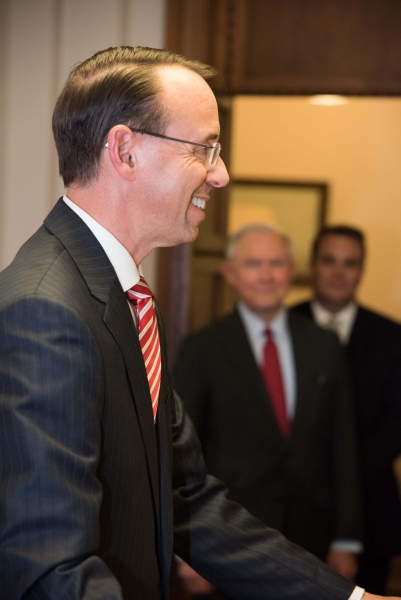 After taking his oath of office, Deputy Attorney General Rod J. Rosenstein provides remarks to Department of Justice senior st