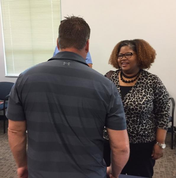 AUSA Shauna Hale mingles with students