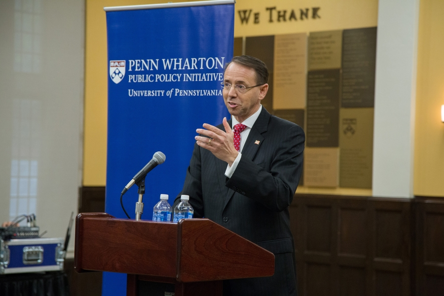 "Deputy Attorney General Rod J. Rosenstein speaks at the Penn Wharton Public Policy Initiative Titled ""Ethics, Business And The Rule Of Law"""