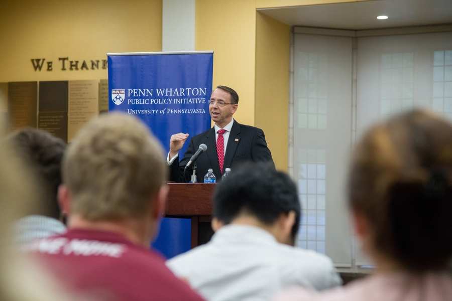 """Deputy Attorney General Rod J. Rosenstein speaks at the Penn Wharton Public Policy Initiative Titled """"Ethics, Business And The Rule Of Law"""""""
