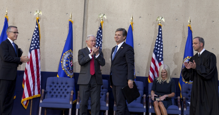 From left: FBI Deputy Director Andrew McCabe; Attorney General Jeff Sessions; FBI Director Christopher Wray and his wife, Helen Wray; and U.S. District Court Judge Joseph Bianco
