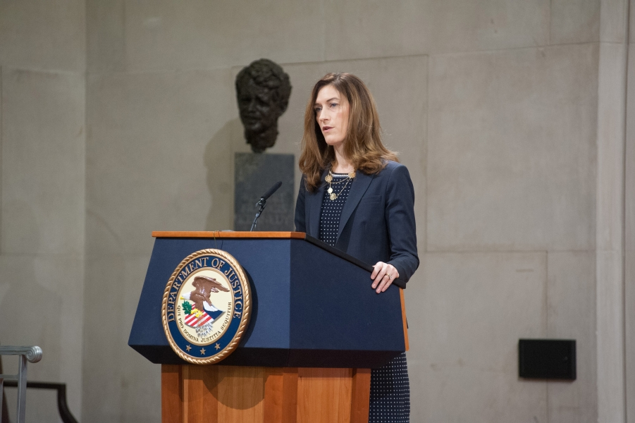 """Associate Attorney General Rachel Brand delivers the opening remarks to her summit on human trafficking, discussing the Department of Justice's dedication to helping victims and combating this """"modern-day slavery"""""""
