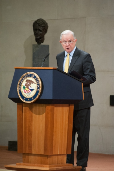 Keynote speaker Attorney General Jeff Sessions echoes the sentiments of Associate Attorney General Brand, emphasizing the importance of the summit and the obscurity of human trafficking