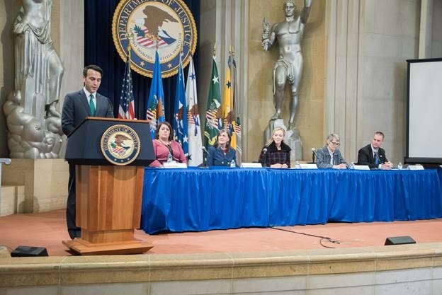"Deputy Associate Attorney General Patrick Hovakimian introduces CBS News Correspondent Paula Reid and the panel on ""restoring freedom and empowering victims"""
