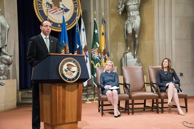 """Deputy Attorney General Rod Rosenstein introduces Secretary of Homeland Security Kirstjen Nielsen and praises her commitment to """"the fight against human trafficking"""""""