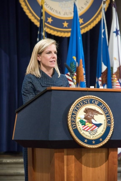 Secretary of Homeland Security Kirstjen Nielsen discusses her Department's partnership with the Justice Department and other agencies in the fight against human trafficking