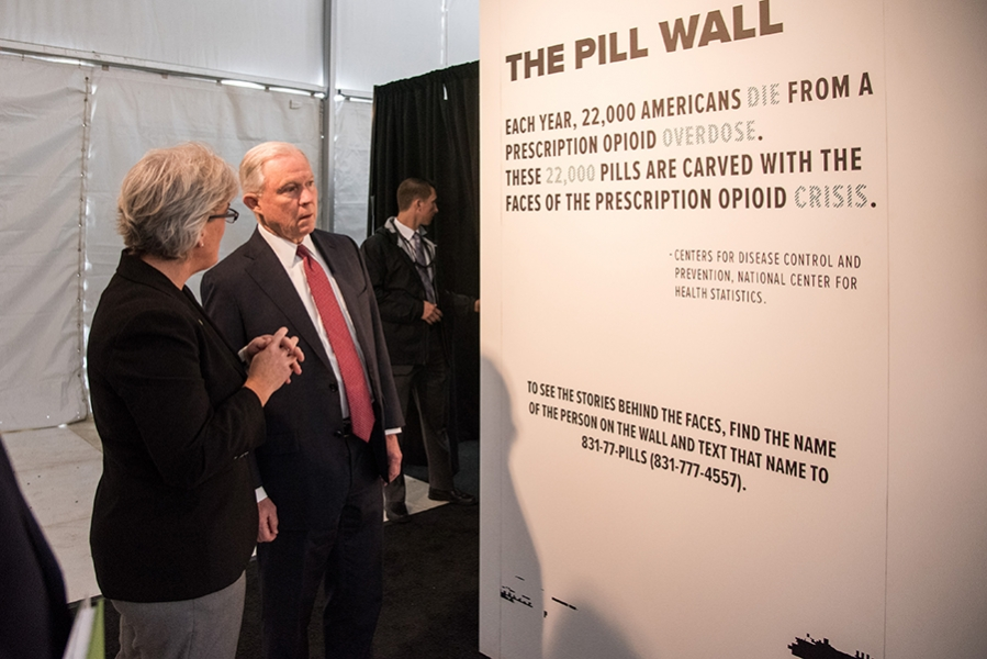 Attorney General Sessions visits Prescribed to Death: a memorial by the National Safety Council to the victims of the opioid crisis at the White House Ellipse.