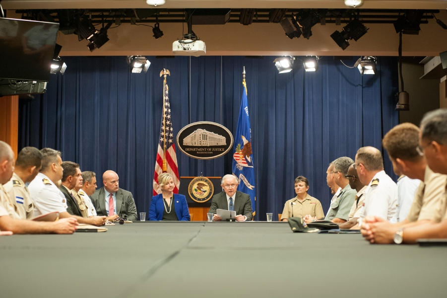 Attorney General Jeff Sessions hosted a round table event with the Joint Interagency Task Force