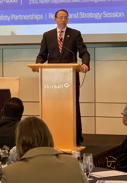 Deputy Attorney General Rod J. Rosenstein delivered remarks on violent crime and announced new grant to support Las Vegas shooting victims at the Los Angeles Crimefighters Leadership Conference.