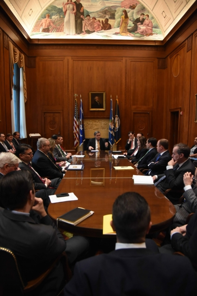 Attorney General Barr meets with Department leadership.