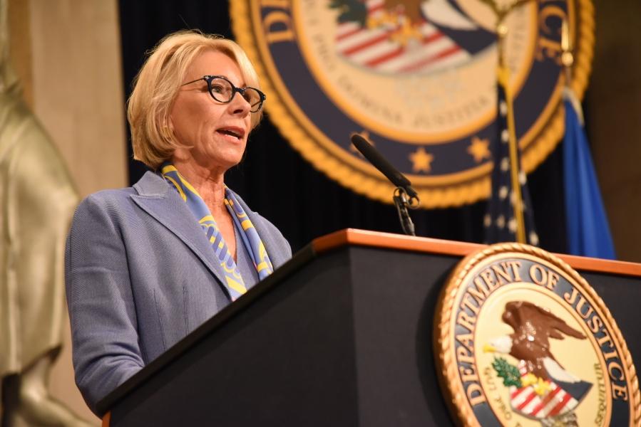 Secretary of Education Betsy DeVos delivers remarks.