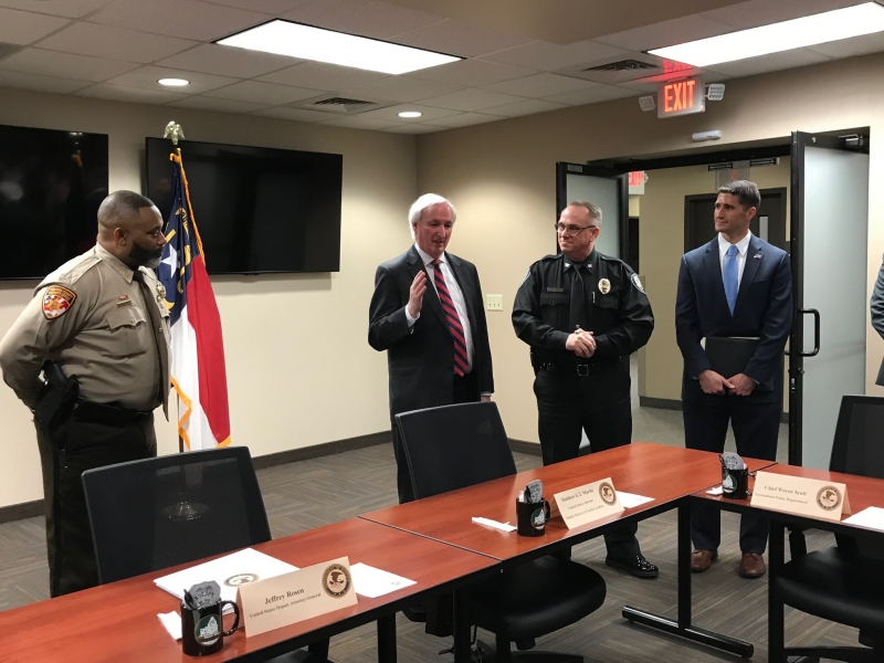 Deputy Attorney General Rosen visits the Greensboro Police Department.