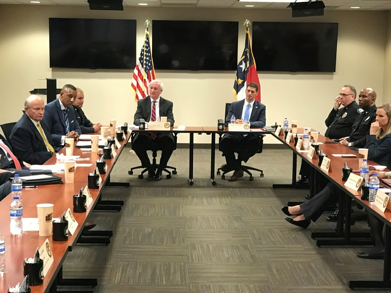 Deputy Attorney General Rosen and U.S. Attorney Matt Martin lead a roundtable discussion at Greensboro Police Headquarters with federal, state and local law enforcement partners to discuss issues including drug abuse and violent crime.