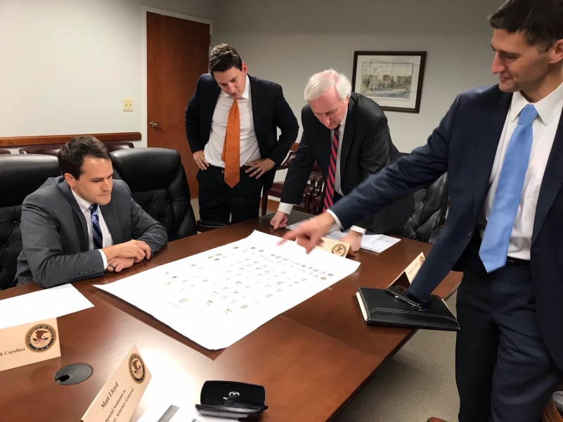 Deputy Attorney General Rosen receives briefing during his trip to North Carolina from U.S. Attorney for the Middle District of North Carolina Matt Martin and his team at the US Attorney's Office in Greensboro.