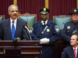 Attorney General Holder tells the audience that today they broke ground for a 'center that will become a place of learning and healing, of reflection and inspiration.'