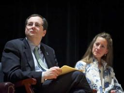 Associate Attorney General Tom Perrellii and Susan B. Carbon, Director for the Office on Violence Against Women (OVW), at a town-hall style discussion at Benjamin Banneker Academic High School in Washington, D.C. The event wrapped up a month's worth of events in recognition of Sexual Assault Awareness Month.