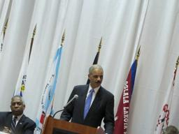 Attorney General Holder addresses conference participants on the Justice Department's commitment to increasing safety and strengthening communities in Indian Country.