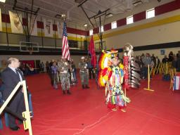 A young boy from Pine Ridge participates in exhibition dancing during the listening session on Pine Ridge Reservation.