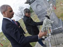 Attorney General Holder at the Wounded Knee Memorial Site.