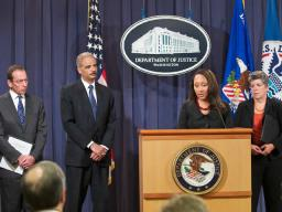 U.S. Attorney Stephanie A. Finley of the Western District of Louisiana talks with reporters at the Operation Delego Press Conference.