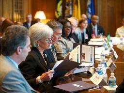 DHS Secretary Kathleen Sebelius participates in the third federal interagency Reentry Council meeting.