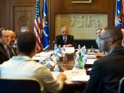 Attorney General Eric Holder convenes the third meeting of the federal interagency Reentry Council at the Department of Justice