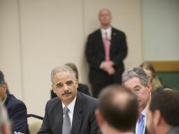 Attorney General Eric Holder discusses the dangers of IP theft with a panel at Towson University.