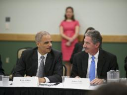 Attorney General Eric Holder and Deputy Attorney General James M. Cole before the panel discussion.