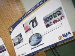 Displays at Towson University show the dangers of intellectual property theft.