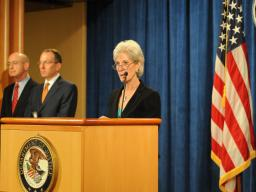 Health and Human Services Secretary Kathleen Sebelius announces the nationwide Medicare fraud takedown.