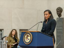 Bianca Ogden delivers remarks about GSA's efforts to improve FOIA operations.