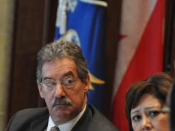 Deputy Attorney General James Cole and Secretary Hilda Solis listen during the meeting led by Attorney General Holder.