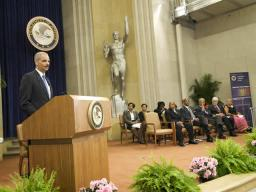 Attorney General Eric Holder addresses attendees at the CRS Anniversary event.
