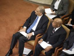 Attorney General Holder and Congressman Lewis, sitting together.