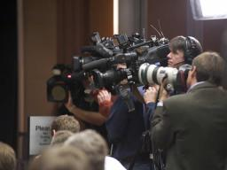 Cameras from various national outlets covered the press conference.