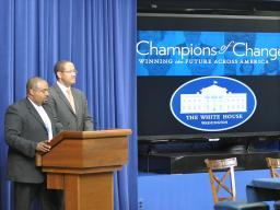 Michael Strautmanis and Joshua DuBois introduced The Fatherhood Champions of Change event on June 13, 2012.