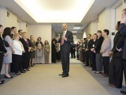 The Attorney General chats with EOIR employees.