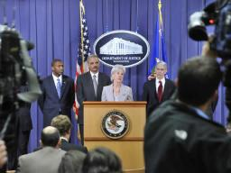 Secretary of the Department of Health and Human Services Kathleen Sebelius addresses reporters.