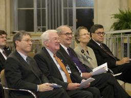 Deputy Attorney General Ogden, along with former Attorneys General Meese, Thornburg, and Barr, watch the unveiling.