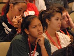 A participant listens