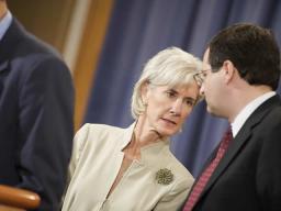 Associate Attorney General Perrelli speaks with Secretary Sebelius.