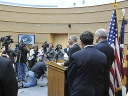 The Attorney General participating in a press conference that was part of the Mortgage Fraud summit held in Phoenix AZ.